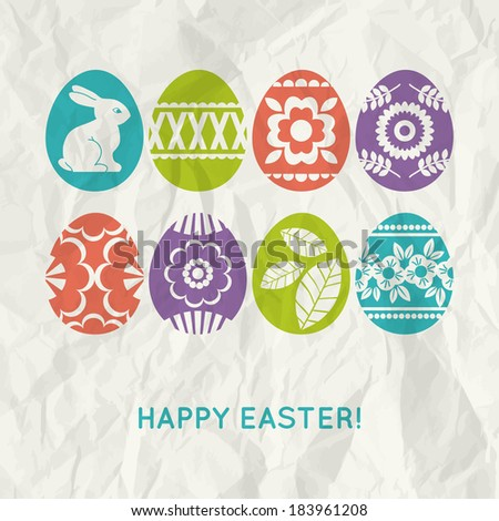 paper background with  colour easter eggs, vector illustration - stock vector