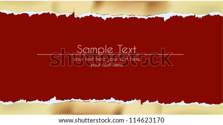paper background with ripped golden border - stock vector