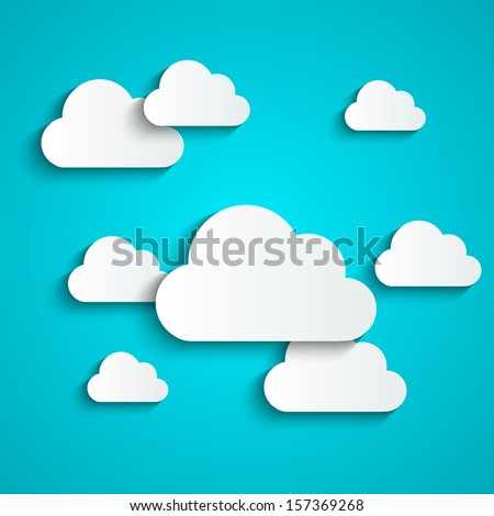 Paper background with white clouds