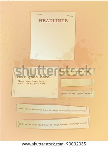 Paper backgrounds fixed with staples - stock vector