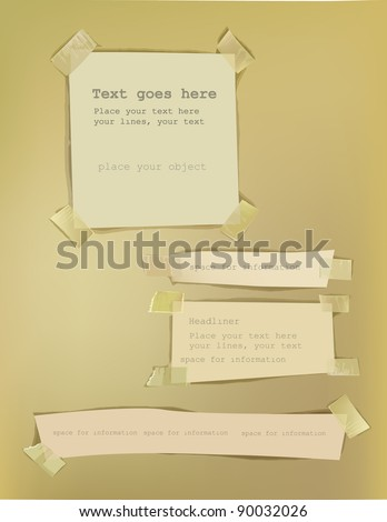 Paper backgrounds fixed with sticky tape - stock vector
