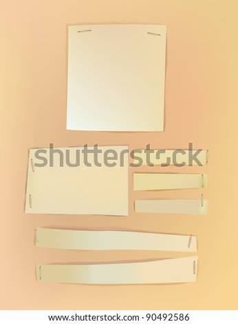 paper backgrounds with staplers - stock vector