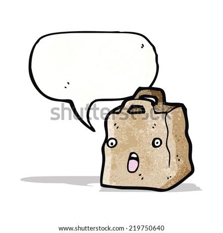 paper bag cartoon character - stock vector