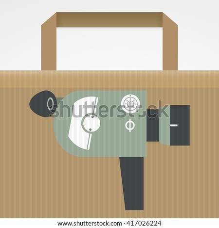 Paper bag decorated with vintage film camera - stock vector