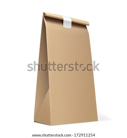 Paper Bag isolated on white. Vector Illustration - stock vector