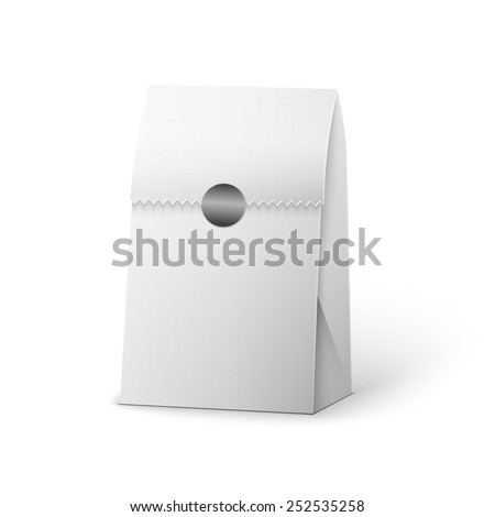 Paper Bag Package Of Coffee, Salt, Sugar, Pepper, Spices Or Flour, Filled, Folded, Close, White. Ready For Your Design. Snack Product Packing Vector EPS10