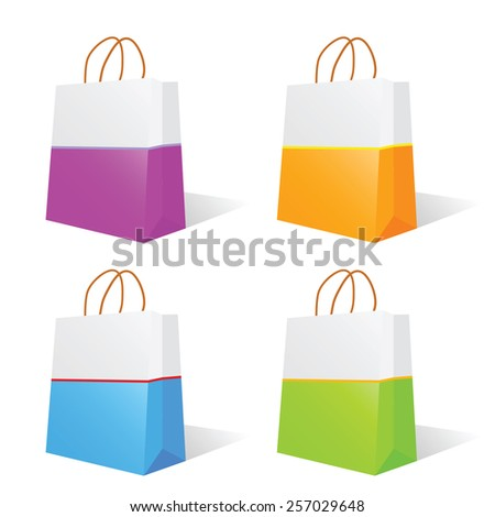 paper bag vector illustration in two color - stock vector