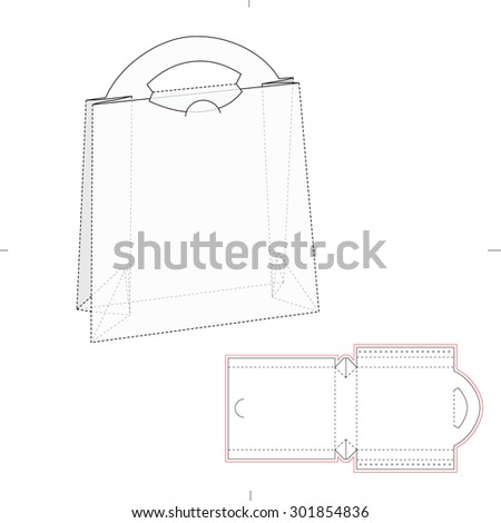 Paper bag blueprint layout vector de stock301854836 shutterstock paper bag with blueprint and layout malvernweather Images