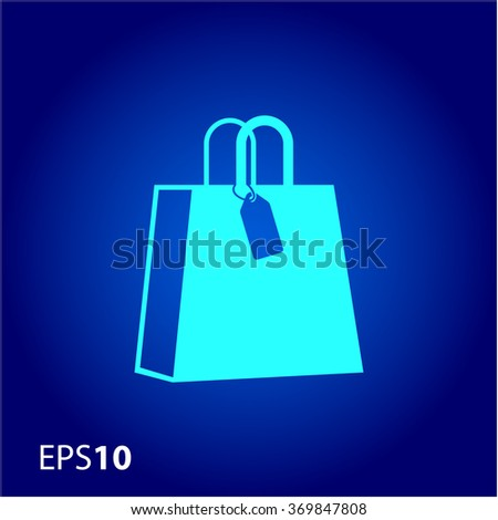 Paper bag with price tag icon for web