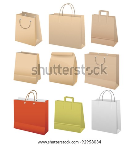 Paper bags set, vector illustration