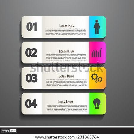 Paper Banner Design templates for your website or infographic. Vector illustration, modern colorful concept. - stock vector