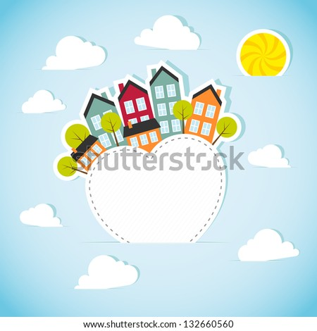 Paper banner with small town. Vector illustration. - stock vector