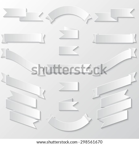 Paper Banners and Ribbons with Shadow - stock vector