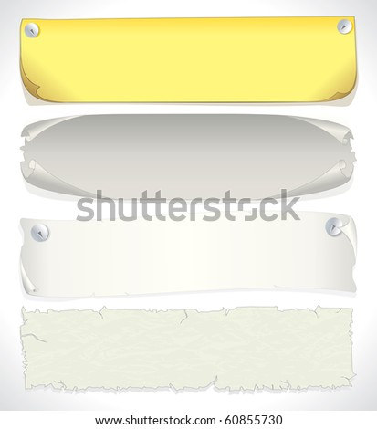 Paper banners and sheets - vector illustration of assorted aged papers and parchments. - stock vector