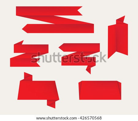 Paper Banners Set.Vector Origami Banners. - stock vector