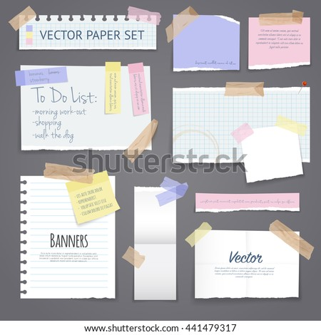 Paper banners with notes set attached with sticky colorful tape on grey background isolated realistic vector illustration - stock vector