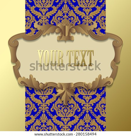 Paper beige baroque frame against a gold blue vintage background. Vector illustration - stock vector