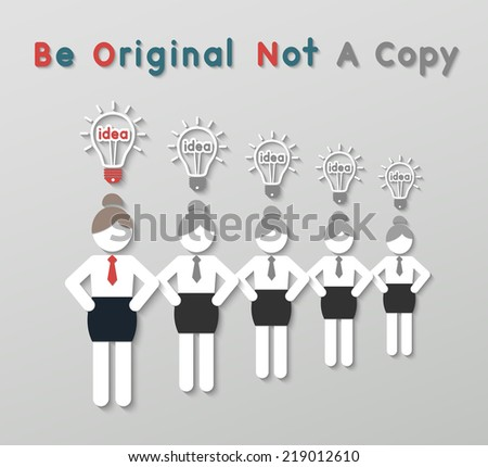 paper best original idea business woman standing ahead other copycats. idea leadership business concept in modern flat style. vector - stock vector
