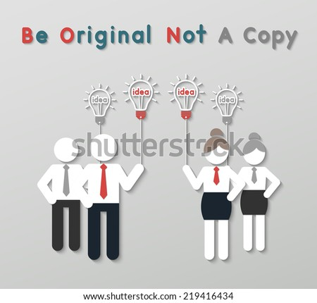 paper best original idea businessman and businesswoman standing ahead other copycats. idea leadership business concept in modern flat style. vector - stock vector