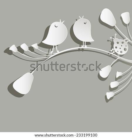 paper birds and ladybird on flowers - stock vector