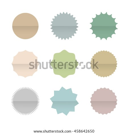 Paper Blank Stickers and Tags Isolated on White Background. Vintage Origami banners. Vector set