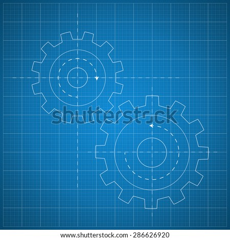 Paper blueprint background. Gears symbol on the drawing paper. Concept of motion and mechanics, connection and operation engineering design work. vector - stock vector