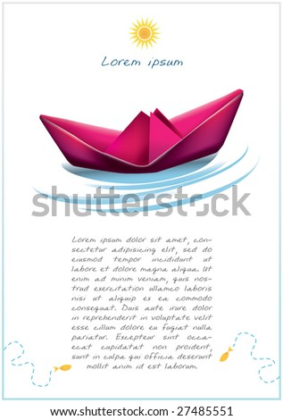 paper boat - stock vector