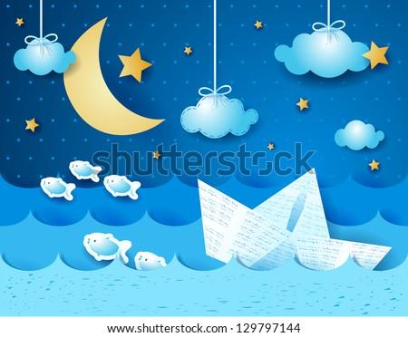 Paper boat, at night. Fantasy illustration, vector - stock vector