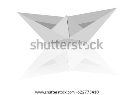 Paper Boat at white background