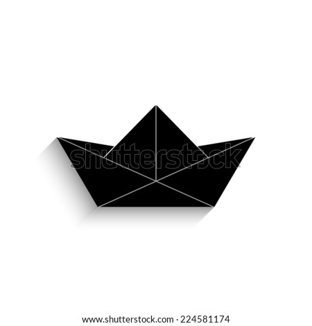 paper boat  - black vector icon with shadow