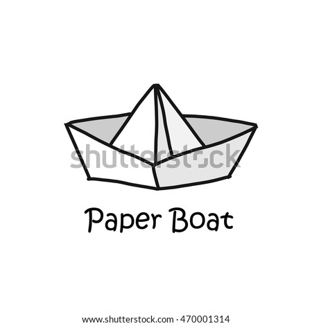 Paper boat cartoon concept style logotype vector illustration