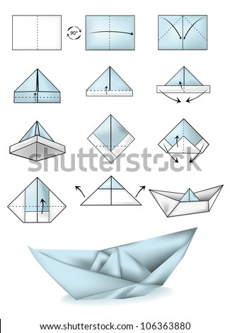 Paper boat instructions illustration tutorial - stock vector