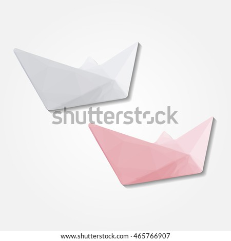 Paper boat low resolution flat triangle polygon vector eps10