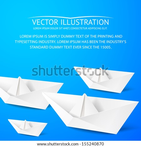 Paper boat on blue background. Vector illustration.