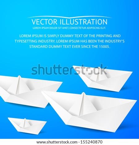 Paper boat on blue background. Vector illustration. - stock vector