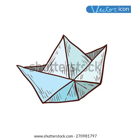 paper boat, Origami  hand drawn illustration.