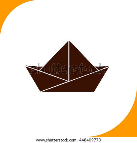 Paper boat sign. Brown icon on white background