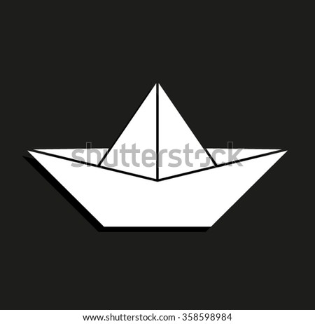 paper boat -  vector icon with shadow