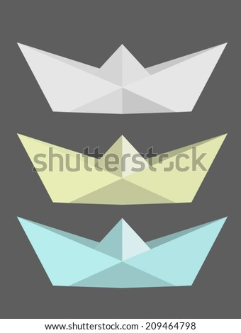 Paper Boats - stock vector