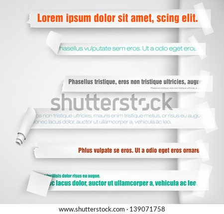 paper bookmarks for text pieces - stock vector
