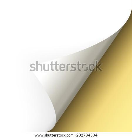 Paper - bottom corner - gold - stock vector
