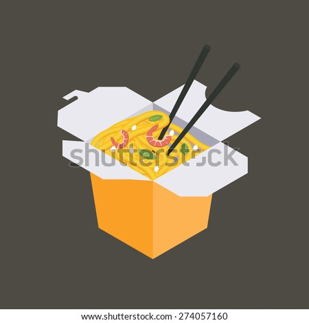 Paper box of Chinese noodles and chopsticks, WOK. Noodles with shrimp and sesame - stock vector