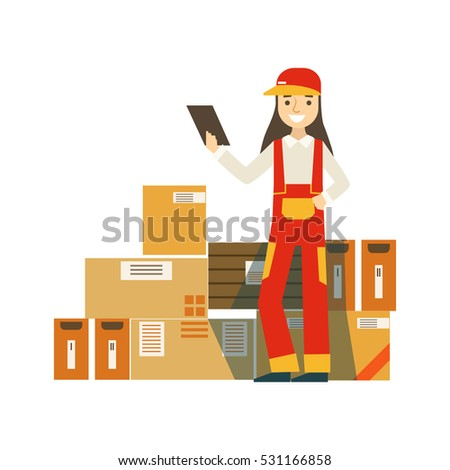 Paper Box Packages Piled Up In Warehouse With A Delivery Company Worker Standing Next Checking It With Check List