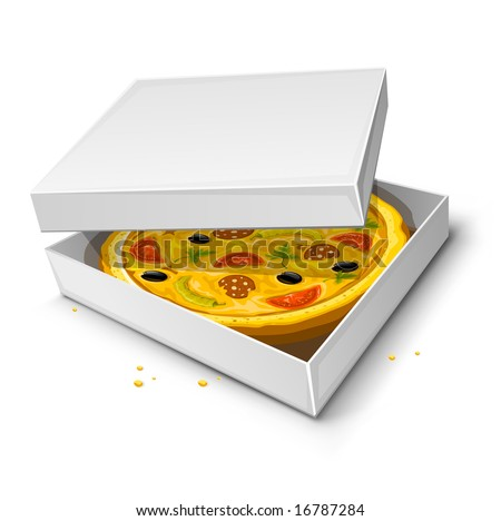 paper box with pizza vector illustration isolated on white background