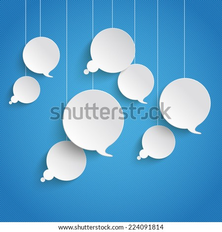 Paper bubbles on the blue background. Eps 10 vector file. - stock vector