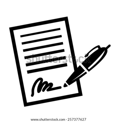 Paper Business Contract Pen Signature vector icon