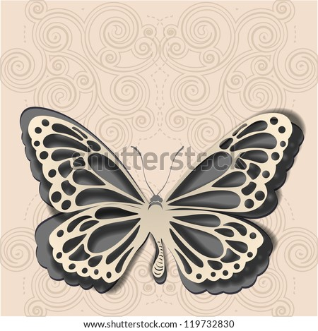 Paper butterfly - stock vector