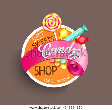 Paper candy shop label with ribbon, vector illustration. - stock vector