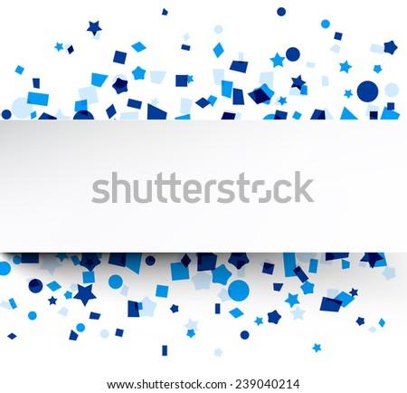 Paper card on blue celebration confetti. Vector background.  - stock vector