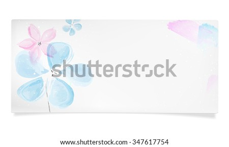 Paper card with abstract watercolor blue and pink flowers - isolated on white background. Vector illustration. - stock vector